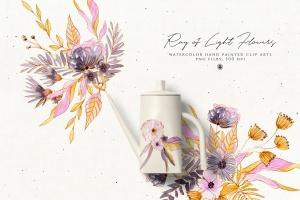 浅色优雅水彩手绘花卉剪贴画PNG素材 Ray of Light Flowers插图5