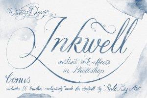 即时水墨效果字体插画图层样式 Inkwell – Instant Ink Effects插图1