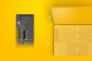 MacBook Pro笔记本电脑屏幕界面设计预览顶视图样机 Clay MacBook Pro 15″ with Touch Bar, Top View Mockup插图4
