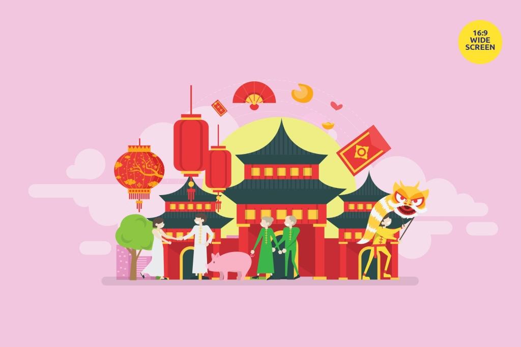中国风新年主题矢量概念插画素材 Chinese New Year Vector Concept Illustration插图