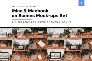 iMac&Macbook办公场景样机 iMac & Macbook on Scenes Mock-ups插图2