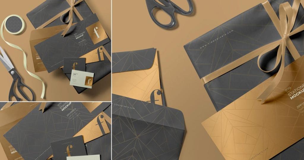 3款高端信封设计样机模板 3 Envelope Mockups插图