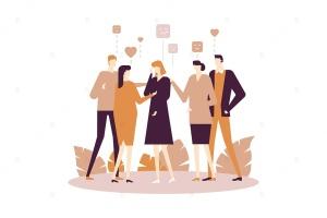 团体情感治疗场景扁平化设计插画 Group therapy – flat design style illustration插图1
