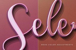 女性柔美色彩3D文本图层样式 Hers 3D Text Effects插图8