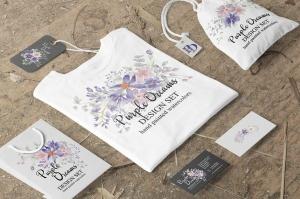 紫色梦幻水彩花卉图案设计素材包 Purple Dreams Watercolor Design Set插图6