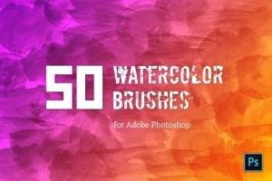 50个手工水彩笔刷笔触图形PS笔刷#1 Watercolor Brush Set #1插图1