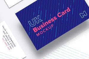 英国标准尺寸企业名片设计样机03 UK Business Cards Mockup 03插图2