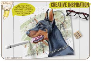 创意Procreate专用画笔素材-水彩戒指和滴水印章插图2