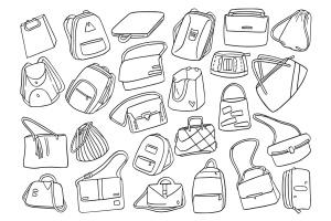 25款时尚背包/挎包涂鸦矢量图形图案素材 Fashion Bag Doodle Vector插图2