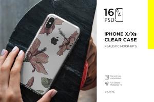 iPhone Xs透明手机壳外观设计效果图样机v2 iPhone Xs Clear Case Mock-Up vol.2插图1