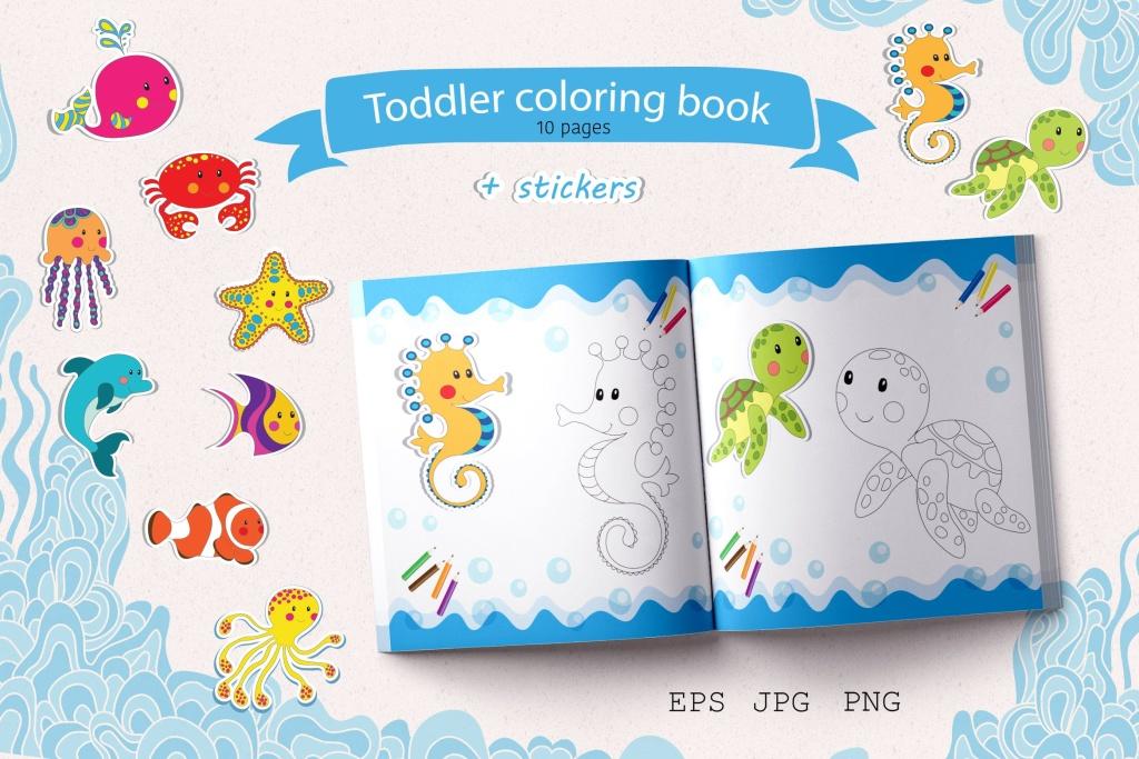儿童涂色画简笔画彩绘本设计模板 Colouring Book插图