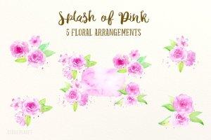 粉红色水彩剪贴画素材 Watercolor Clipart Splash of Pink插图3