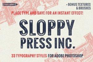 复古手工印刷文本图层样式 Sloppy Press Inc.插图1