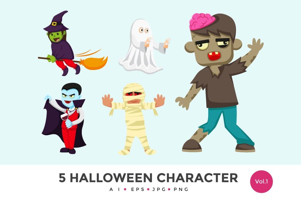5个万圣节可爱怪物卡通人物矢量图形素材v1 5 Cute Halloween Monster Vector Character Set 1插图