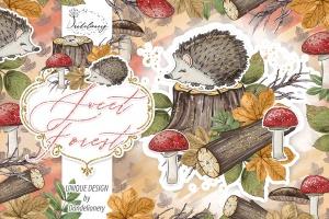 甜蜜森林手绘设计插画PNG素材 Sweet Forest design插图1