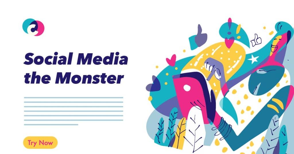 社交媒体多彩图像插画素材 Social Media colorful graphic illustration插图