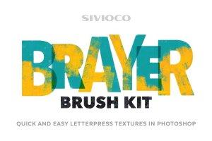 辊筒复印效果PS笔刷 Brayer Brush Kit插图1