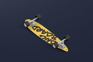 长滑板手绘图案设计样机模板 Skateboard Longboard Mockup插图3