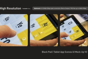 iPad平板电脑演示APP设计样机模板 Black iPad | Tablet App Scenes UI Mock-Up插图5