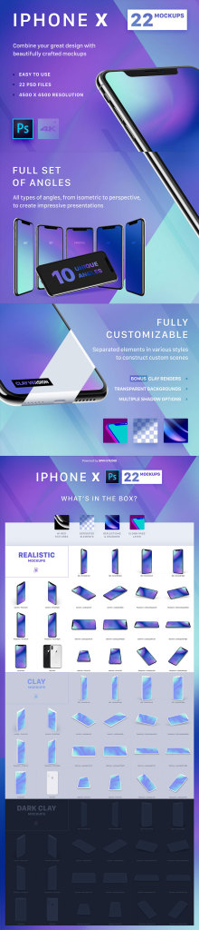 一流设计素材网下午茶:22个多角度iPhone X展示模型Mockups下载[PSD,4K级,黑白灰三色]