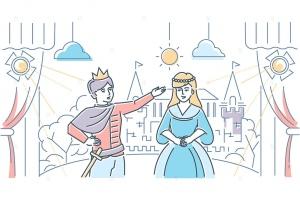 戏剧舞台场景线条设计风格插画素材 Theatre school – line design style illustration插图2