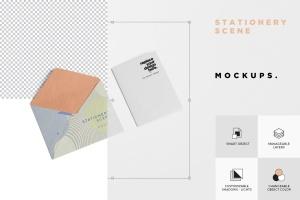 创意品牌VI视觉设计办公用品套装等距网格样机模板 Stationery Mockup Scenes插图5