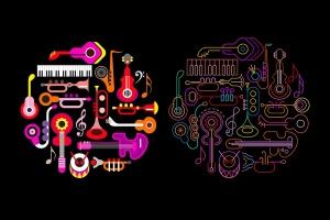 霓虹设计风格音乐乐器主题圆形矢量插画 Musical Instruments Neon round shape vector design插图1