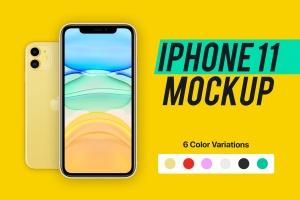 2019年新款iPhone 11苹果手机样机模板[6种配色] iPhone 11 Mockup插图1