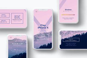 iPhone X智能手机屏幕界面设计多屏预览效果等距网格样机08 Clay iPhone X Mockup 08插图1