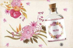 手绘水彩粉红色的花朵剪贴画素材  Pink Pink Flowers插图3