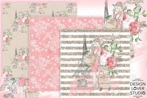 旅行花卉元素剪贴画素材合集 Travel woman digital paper pack插图2