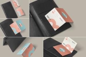 折叠式名片设计效果图样机PSD模板 Two Fold Business Card Mockups插图1