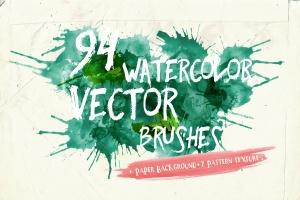94种水彩艺术图案AI笔刷 Watercolor Vector Art Brushes插图1
