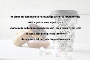 咖啡甜品牌样机模板 Coffee Doughnut Mockup插图9