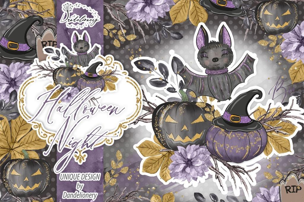 万圣节之夜节日主题水彩手绘剪贴画PNG素材 Halloween Night design插图