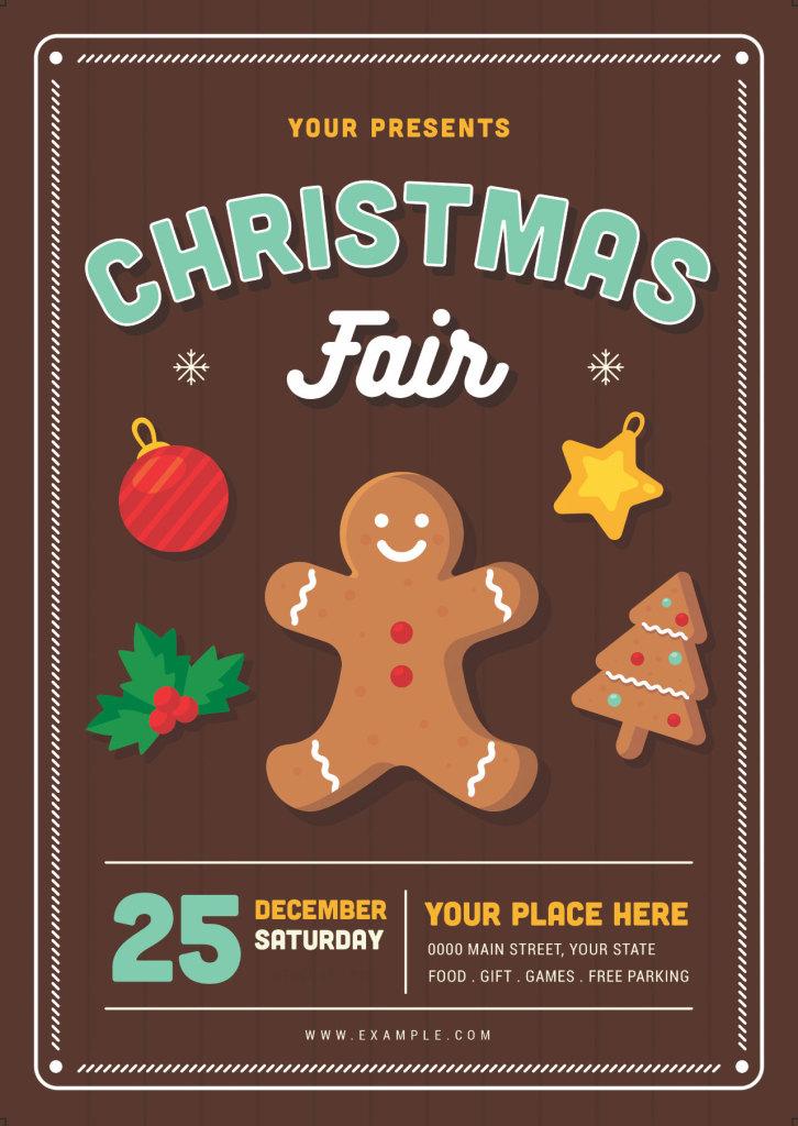 圣诞节饼干主元素矢量海报模版下载[Ai,PSD]