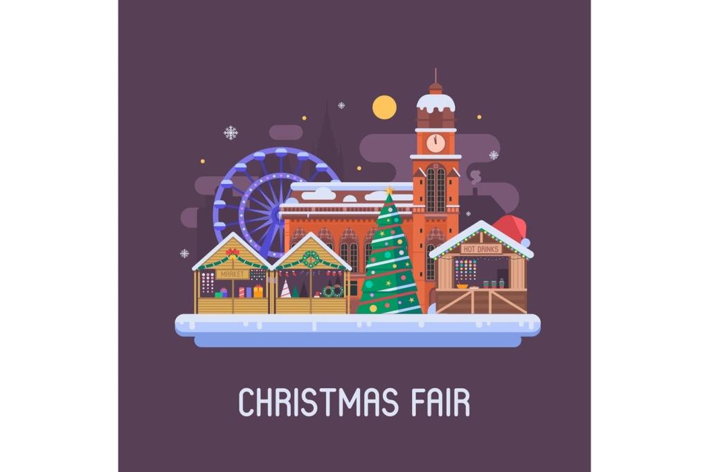 欧洲圣诞集市夜景场景插画 Europe Christmas Fair Night Scene插图