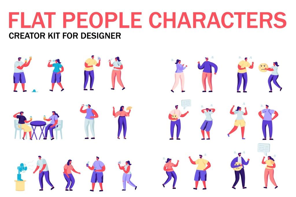 扁平化设计风格虚拟人物角色图形设计工具包v5 Flat People Character Creator Kit插图