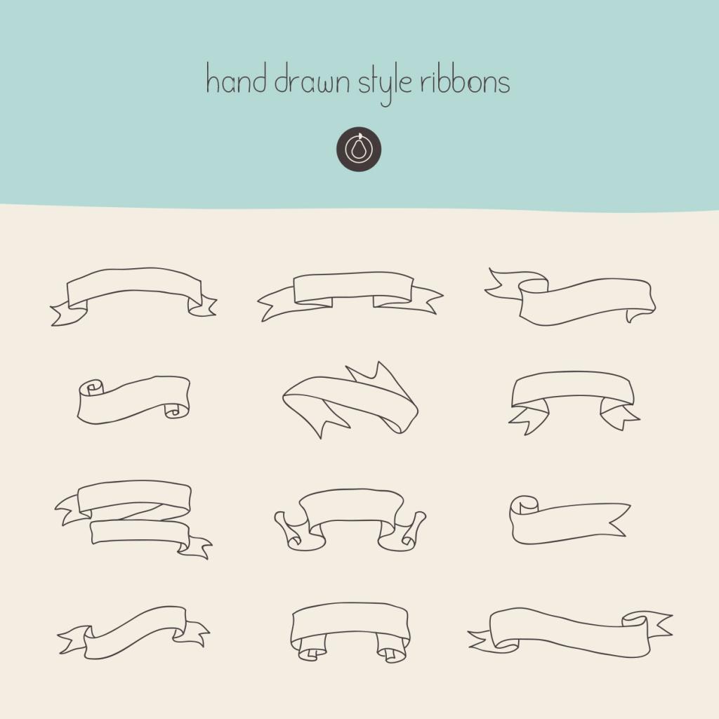人工手绘丝带矢量图形设计素材 Hand Drawn Ribbons – Vector插图