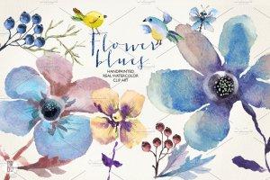 花朵、鸟儿、蝴蝶及乡村背景元素  Aquarelle blue flowers插图1