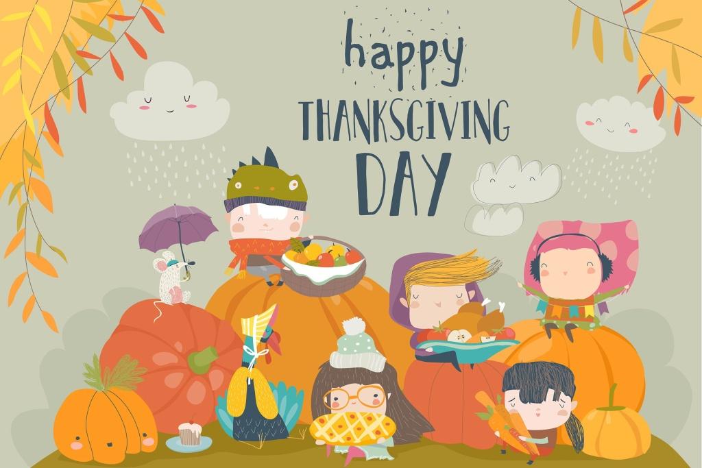 儿童感恩节活动矢量手绘插画素材 Cartoon children celebrating Thanksgiving Day with插图