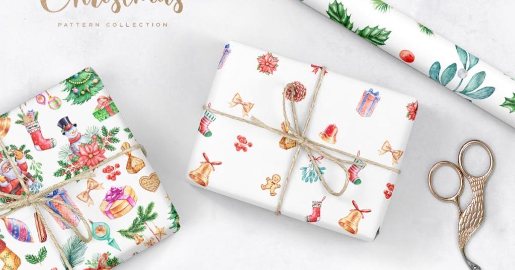圣诞节礼物主题水彩元素图案素材 Watercolor Christmas Patterns插图