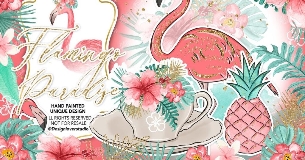 火烈鸟水彩插画设计素材 Flamingos Paradise design插图