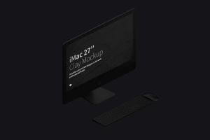"27寸iMac一体机等距左视图黏土样机模板 Clay iMac 27"" Mockup, Isometric Left View插图3"