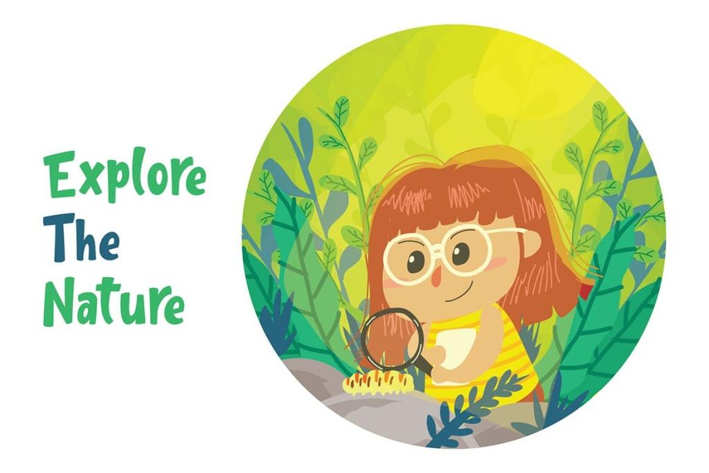 探索自然主题矢量插画素材 Explore Nature – Vector Illustration插图