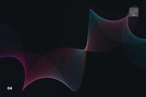 抽象虚线波浪漩涡图案Photoshop笔刷 Dotted Wavy Swirls Photoshop Brushes插图5