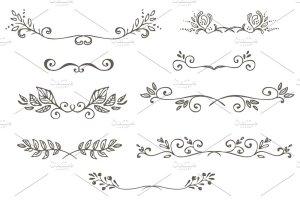 花朵叶子和花环简笔装饰素材 Spring Doodles插图3