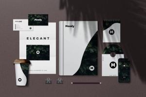 8个企业品牌VI标识设计预览办公用品等距场景样机模板 8 Identity Stationery Mockups插图2
