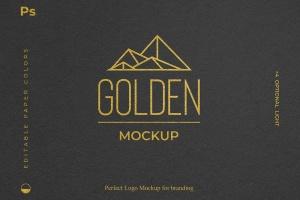 烫金印刷工艺Logo设计效果图样机 Gold Foil Paper Logo Mockup插图1