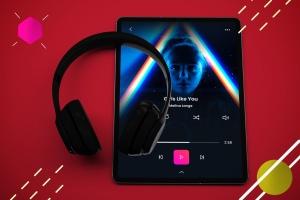抽象设计风格iPad Pro平板电脑APP设计屏幕预览样机 Abstract iPad Pro Music App插图3